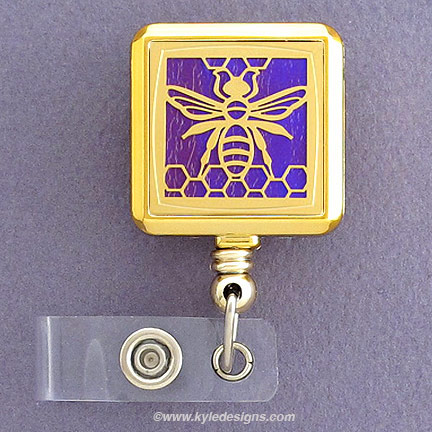 Bee Square Badge Holder - Iridescent Purple with Gold Design