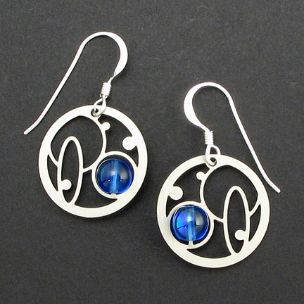 Silver Bubble Earrings with Blue Bead Accent