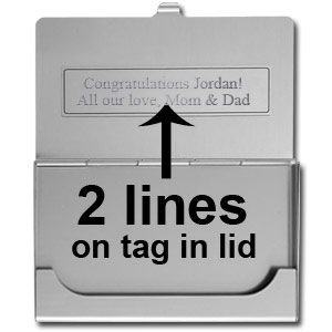 Engraving Tag inside lid on Business Card Holder