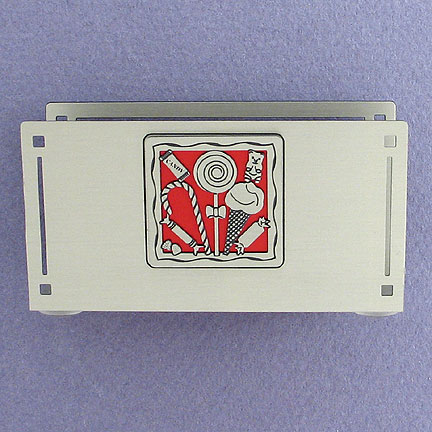 Candy Desktop Business Card Holder in Red and Silver