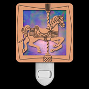 Copper with Purple Stained Glass Night Light - Carousel Horse