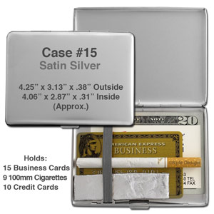 Metal wallet #15 for 100mm cigarettes or 10 credit cards.