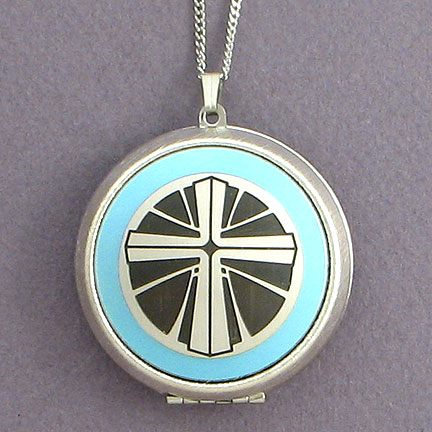 Christian Locket Necklace - Aquamarine with Silver Design