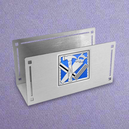 Construction Desktop Card Holder - Cobalt Iridescent with Silver Design