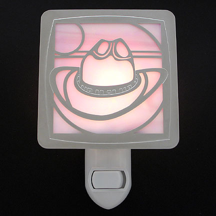Polished Silver and Pink Night Light - Cowboy Hat