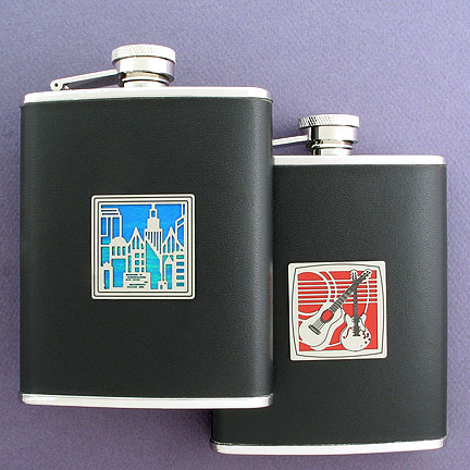 Design Your Own Black Leather Flask with City and Guitar Designs