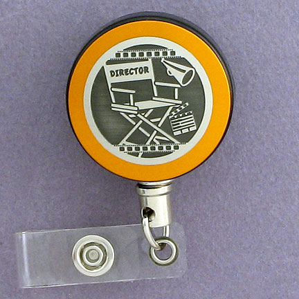 Director's Retractable ID Badge Holder - Citrus Aluminum with Silver Design