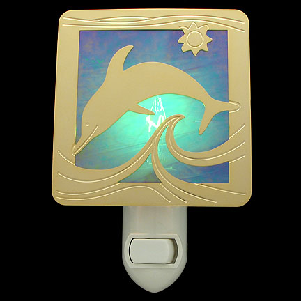 Polished Gold with Green Night Light - Dolphin