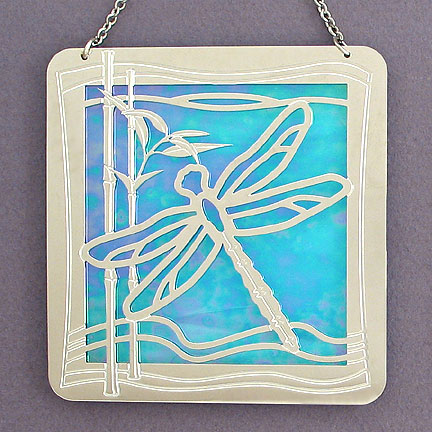 Stained Glass & Metal Dragonfly Sun Catcher