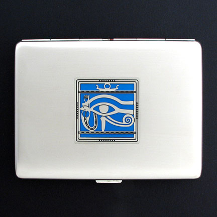 Silver Egyptian Eye Steel Wallet with Blue Aluminum
