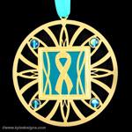 Engraved Teal Ribbon Ornaments