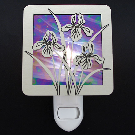 Brushed Silver and Purple Night Light - Iris