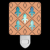 Copper with Turquoise Stained Glass Night Light - Diamond Fleur de Lis