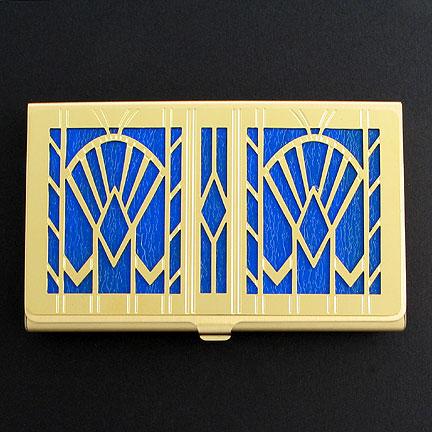 Blue & Gold Art Deco Business Card Holder