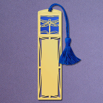 Dragonfly Bookmark - Blue Aluminum with Gold Design