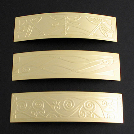 Gold Hair Barrettes with Etched Designs