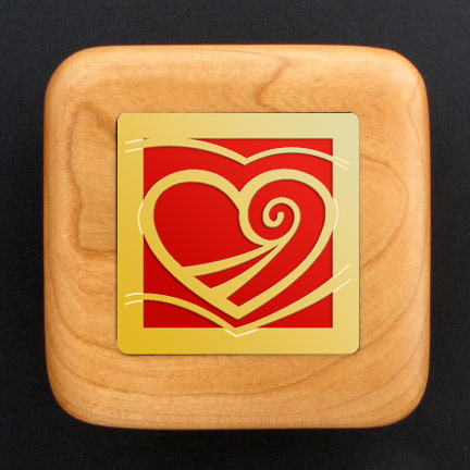 Heart Engagement Ring Box - Red Aluminum with Gold Design
