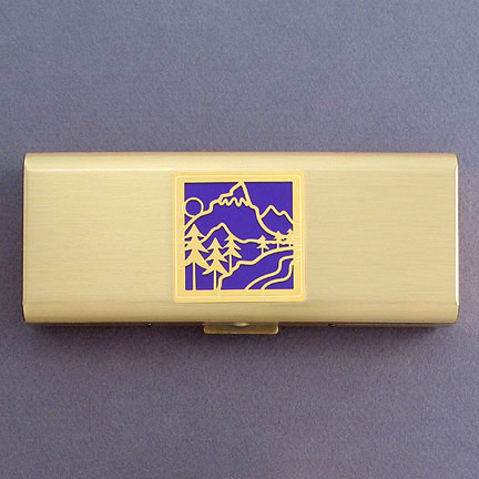 Mountain 7 Day Pill Organizer - Violet Aluminum with Gold Design