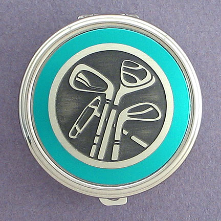 Golfing Pill Box - Teal Aluminum with Silver Design