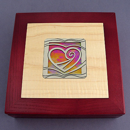 Heart Wood Jewelry Box Inlaid with Metal and Glass