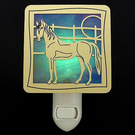 Brushed Brass with Green Night Light - Horse