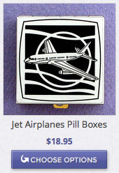 Jet Airplane Pill Box in Silver and Black