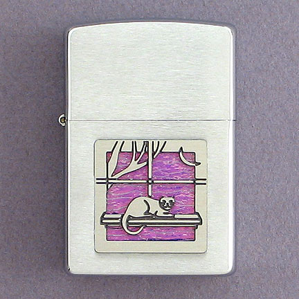 Cat Cigarette Lighter - Lavender Iridescent with Silver Design