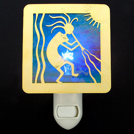Polished Gold and Cobalt Blue Night Light - Kokopelli