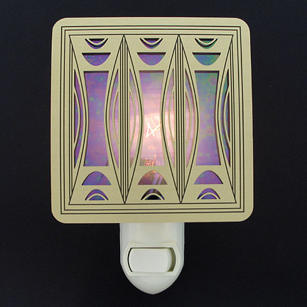 Brushed Brass and Purple Night Light - Milano Modern