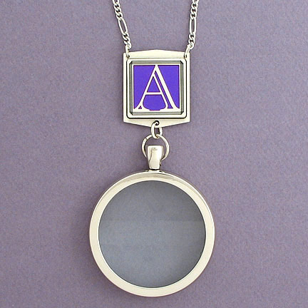 Monogram A Magnifier Necklace - Violet Aluminum with Silver Design