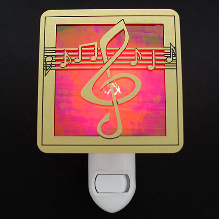 Brushed Brass and Red Night Light - Musical Notes