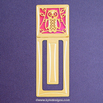 Owl Bookmark - Iridescent Hot Pink with Gold Design