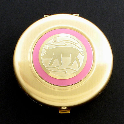 Pig Compact Mirror - Pink Aluminum with Gold Design