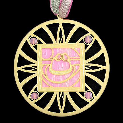 Pink Cowboy Hat Ornament - Light Pink Iridescent with Gold Design