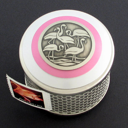 Flamingo Stamp Box - Pink Aluminum with Silver Design