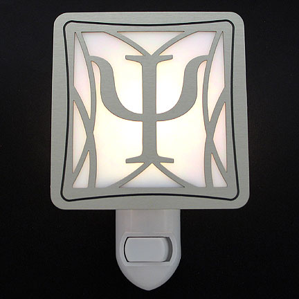 Brushed Silver and White Night Light - Psychology