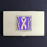 Purple Ribbon Business Card Holder