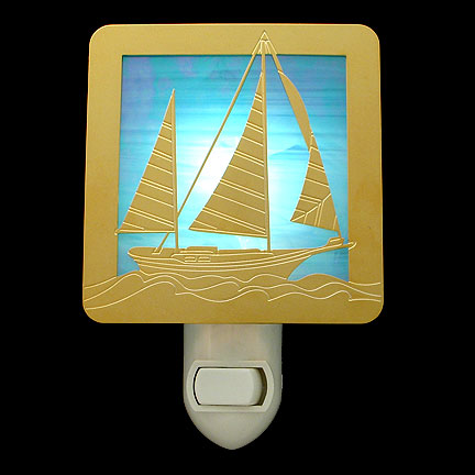 Polished Gold and Turquoise Night Light - Sailboat