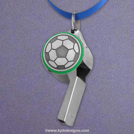 Soccer Whistle - Green Aluminum with Silver Design