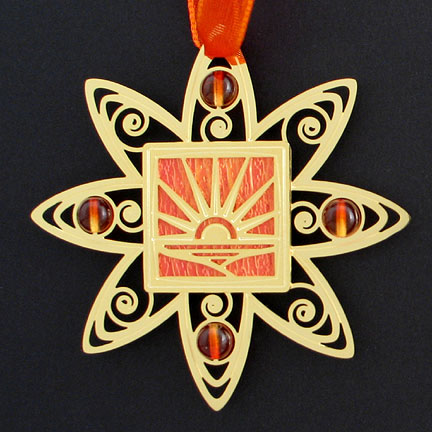 Sunset Christmas Ornament - Orange Iridescent with Gold Design