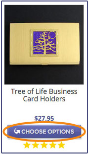 Tree business card case in gold with purple