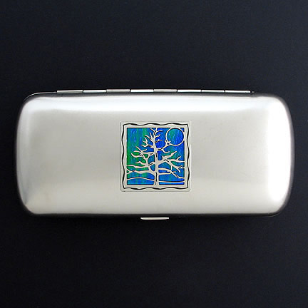 Tree Eyeglasses Case - Iridescent Rainforest with Silver Design
