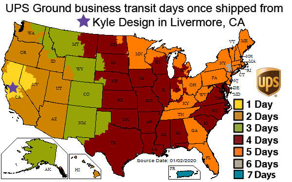 UPS Shipping Times from Kyle Design