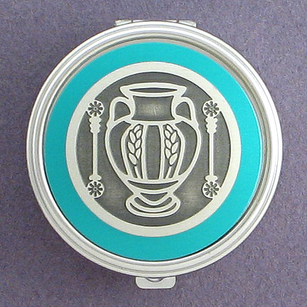 Vase Pill Box in Silver and Teal