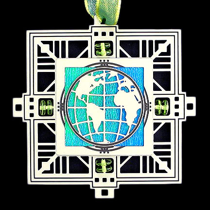 World Ornament - Aqua Iridescent with Silver Design