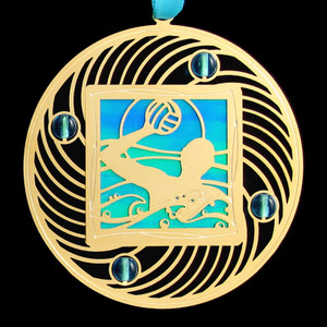 Water Polo Ornament - Gold & Blue