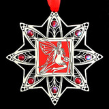 Red Fairy Ornament in Silver