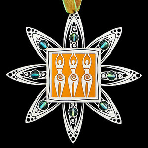 Goddess Christmas Ornaments in silver with citrus and lime beads.