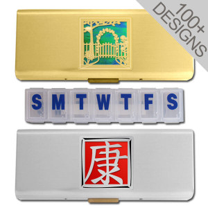 "Customized 5"" Metal 7 Day Pill Reminders"