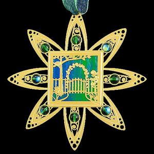 Gold Garden Gate Christmas Ornament